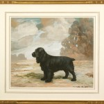 Ward Binks (British, 1880-1950), Ch. Lanehead Distinction, 1939, Black Cocker Spaniel, Gouache on Paper, 10 3/4 x 12 3/4 inches , Framed: 16 x 18 inches, Courtesy The William Secord Gallery, NYC