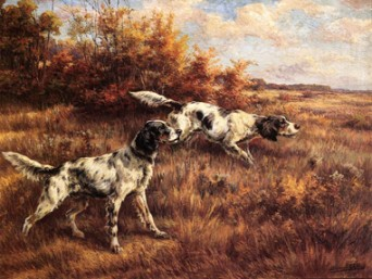 CC-Dogs in Art.Seven English Setters05.On the Scent Colored